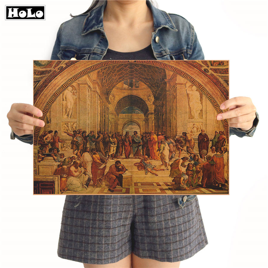 Design Toscano The School Of Athens Vintage Poster Wall Sticker Wallpaper Art Posters Retro Cafe Paper Painting 42x30cm MXC05
