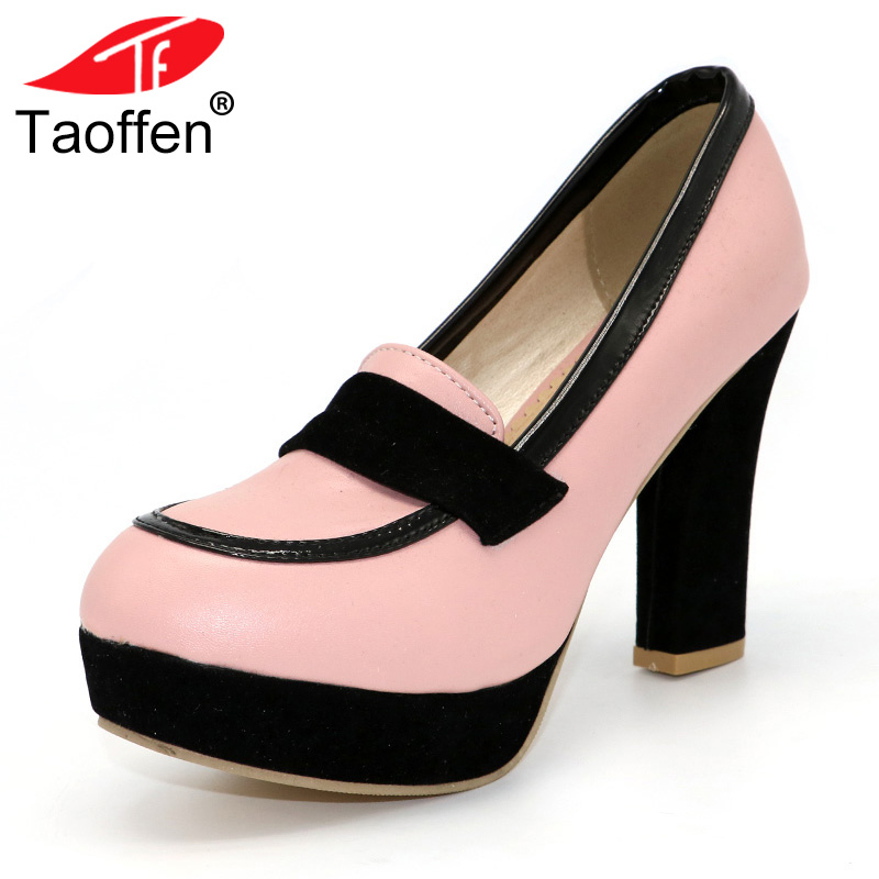 TAOFFEN ladies high heel shoes women sexy dress footwear fashion lady female brand pumps P13025 hot sale EUR size 34-47 taoffen ladies leisure casual flats shoes low heels lady loafers sexy spring women brand footwear shoes size 34 42 p16166
