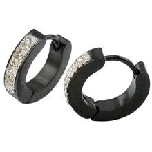 6 pairs/lot черный покрытие серьги прозрачный кристалл для уха пирсинг серьги хип-хоп стиль