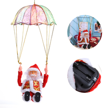 Christmas Santa Claus Flash Toy Funny Electric Doll With Parachute Christmas Tree Ornaments Kid Gift Toy Xmas  Santa Claus