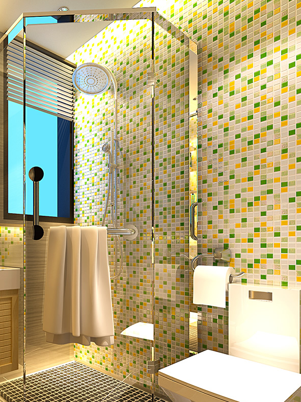 Iridescent glazed Crystal 3D Green Glass Mosaic backsplash pool wall ...