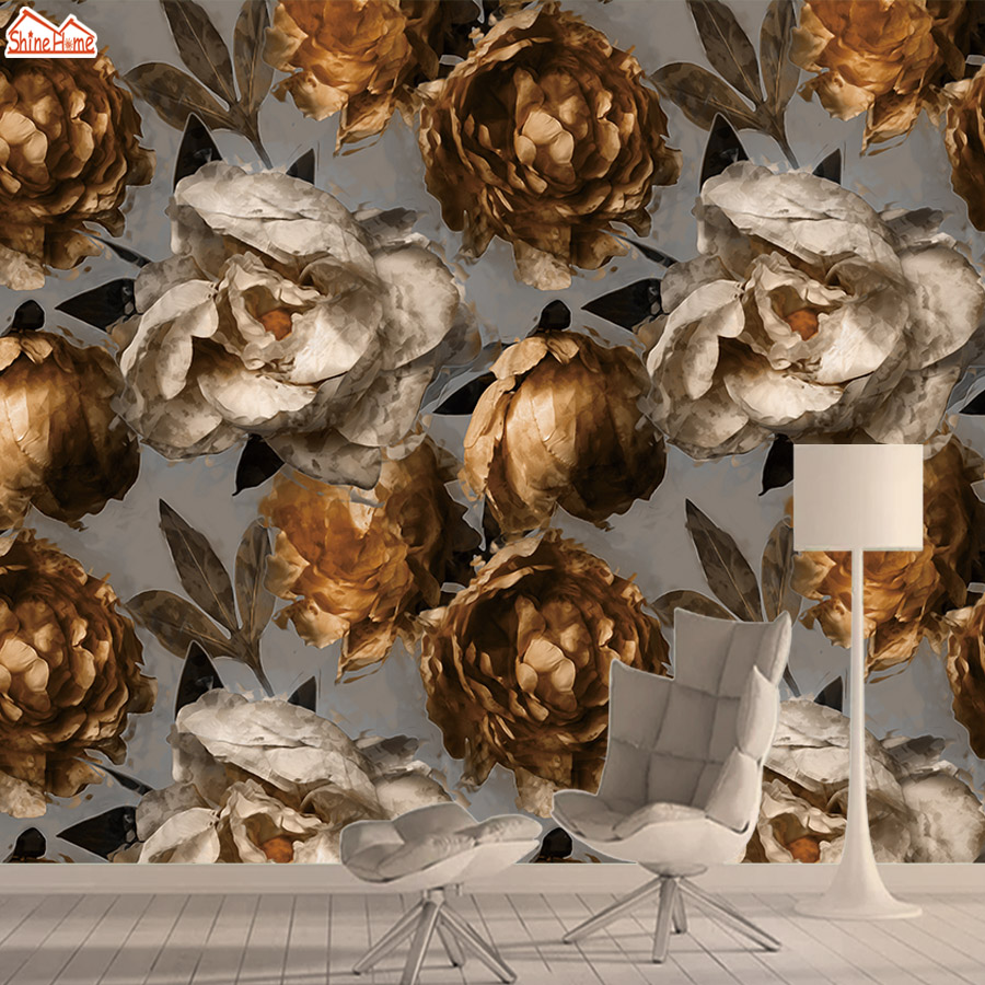 Wall Paper Papers Home Decor 3d Wallpaper Mural Wallpapers For Living Room Vintage Floral Peony Self Adhesive Walls Murals Rolls