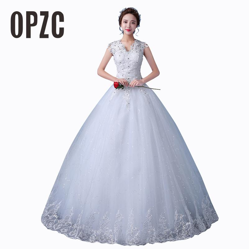 Cheap Customizable White Wedding Dress 2017 Korean Style Lace V Neck Vintage Bridal Gowns Discount Dresses