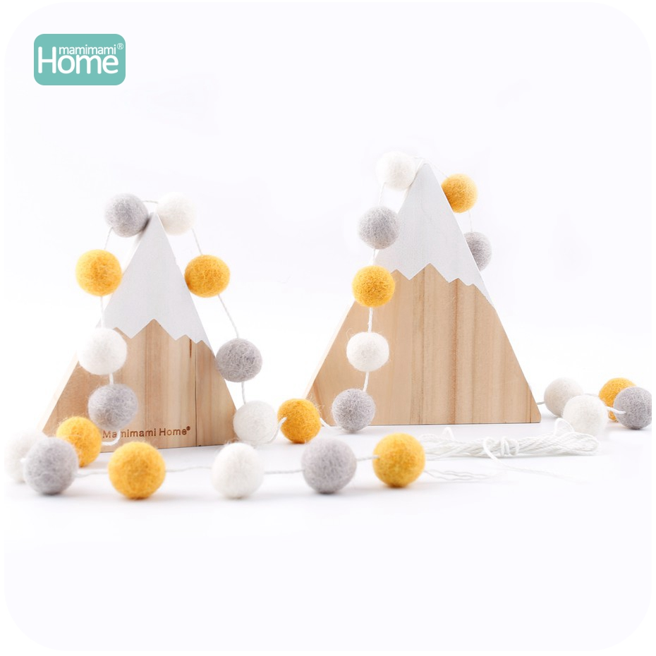 MamimamiHome 20Pcs Wool Ring Wool Felt Ball Gray Light Yellow White Ball Ornaments Baby Shower Children's Toy Room Decoration