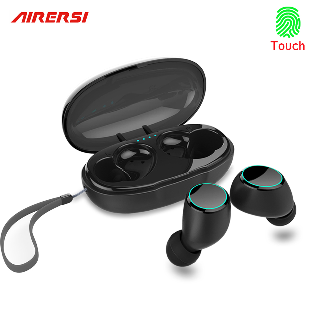 Newest TWS Bluetooth wireless Earphone Touch Sports Earbuds Deep Bass Stereo Headset Earphone with mic for iphone samsung xiaomi wired earphone with mic dual drive gaming headset stereo bass music earphones inear running sports earbuds for iphone for xiaomi