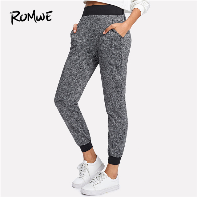 6adb767bc38 ROMWE Grey Colorblock Waist Pants Female Casual Elastic Waist Mid Waist Plain  Sweatpants Spring Autumn Workwear Crop Trousers