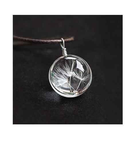 High Quality Real Dandelion Jewelry Crystal Glass Ball Dandelion Necklace Long Strip Leather Chain Pendant Necklaces For Women
