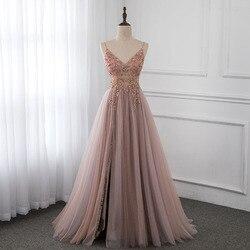 Милые розовые платья для выпускного со стразами, Длинные бретельки, прозрачное Тюлевое вечернее платье с разрезом, YQLNNE