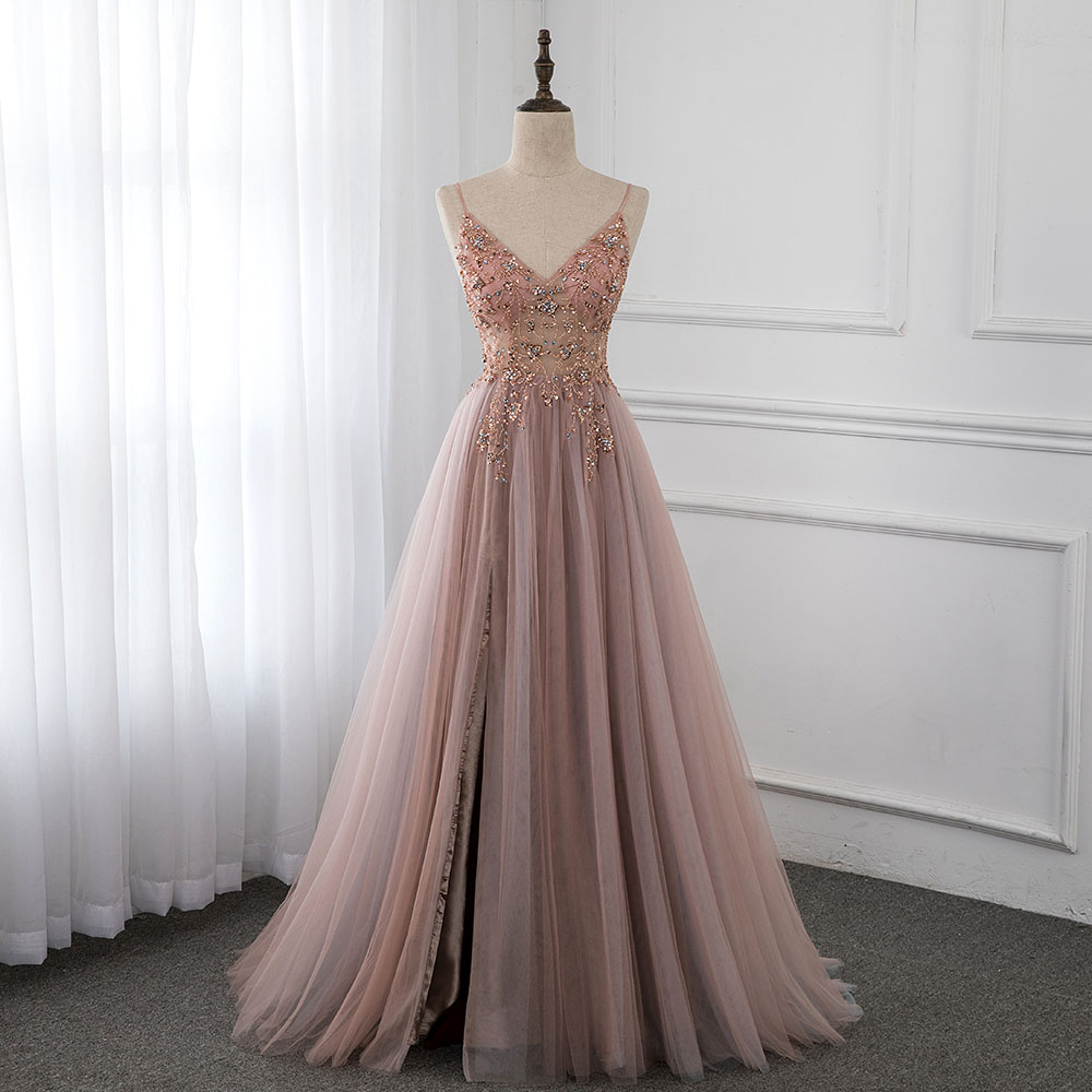 Sweet Dusky Pink Crystal Prom Dresses Long Straps Spaghetti See Through Tulle Evening Gown Slit Right