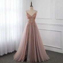Sweet Dusky Pink Crystal Prom Dresses Long Straps Spaghetti
