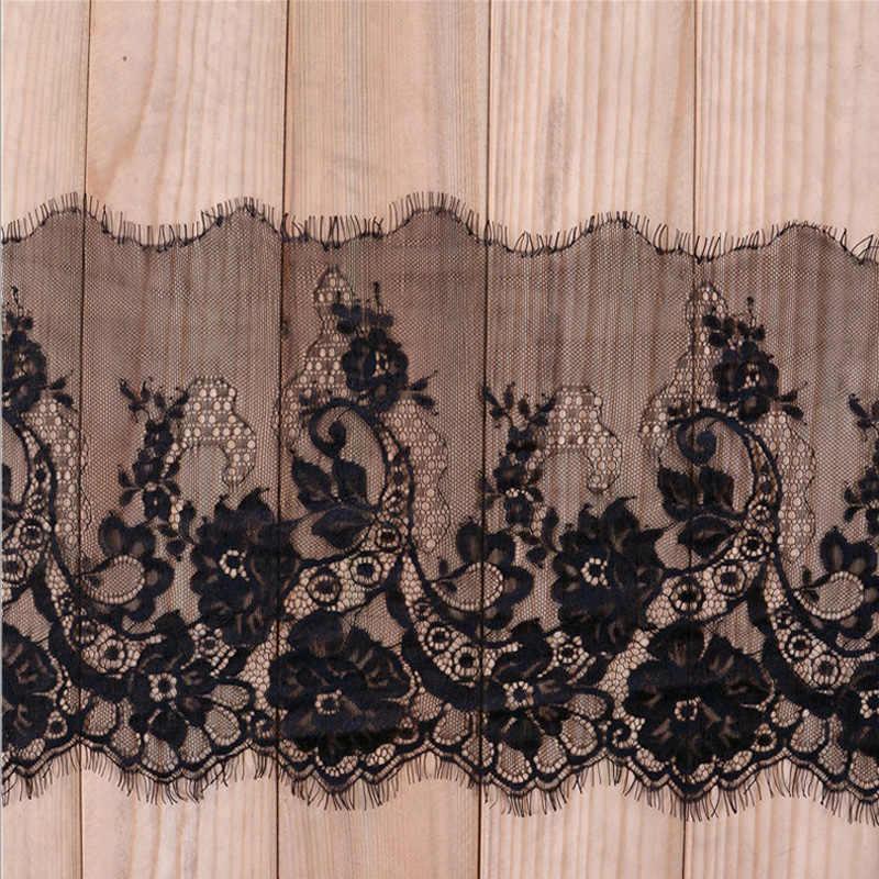 3 meters/partij 24cm Breedte Fashion Hoge Kwaliteit Handgemaakte DIY Zwart Wimper Kant Trimmen, chantilly kant stof