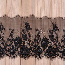 3meters/lot 24cm Width Fashion High Quality Handmade DIY Black Eyelash Lace Trimming,chantilly lace fabric(China)