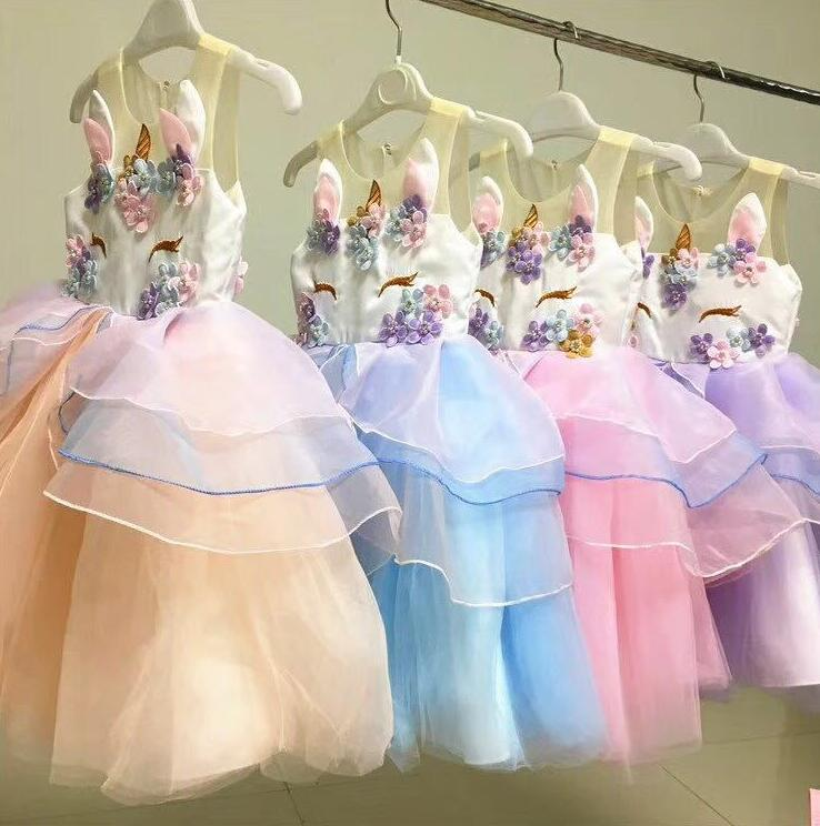 New Fashion Colorful Tulle Baby Girl Party Princess Dress Unicorn Girls Clothing Summer Kids Dress new summer girls dress fashion kids dresses for girl pink flower unicorn party wedding princess teenager baby girls luxury dress