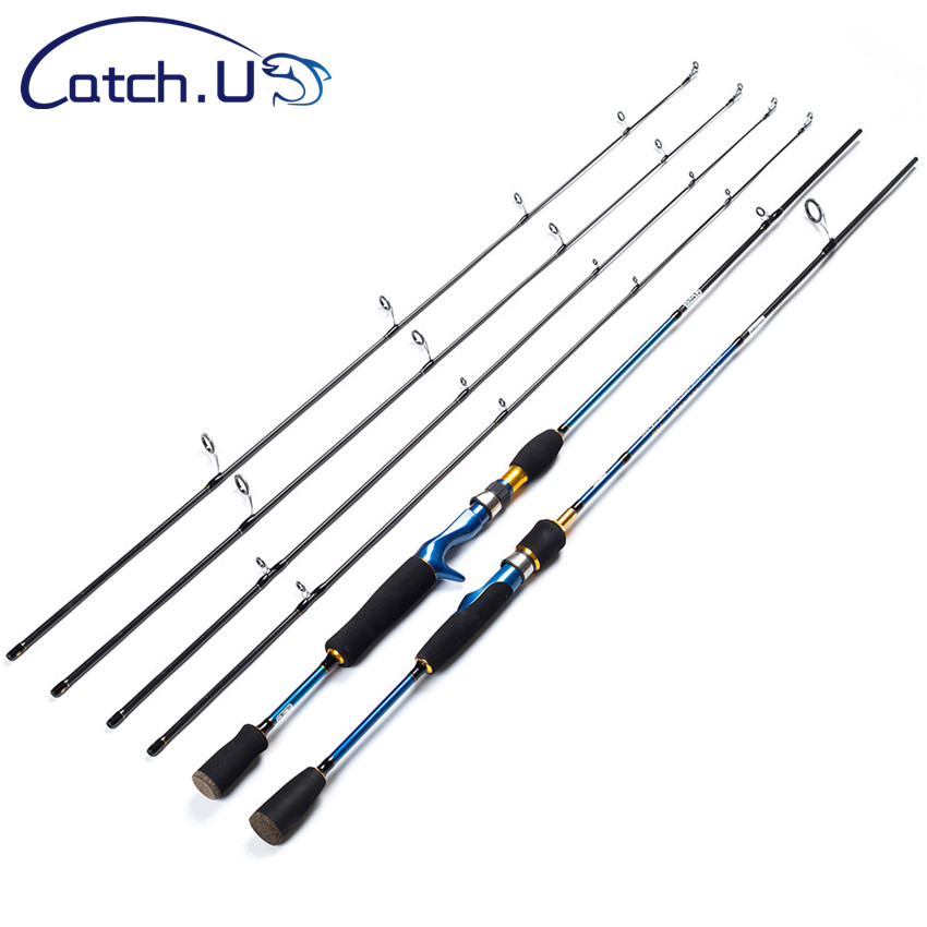 Catch.U 1.8m Spinning Fishing Rod 2 Section Lure Rods Spinning Carbon Pole Hard Sea Fishing Rod Casting Blue Line WT.8-16lb стоимость