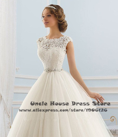 Online Shop Off White Wedding Dresses 2016 Lace Tulle Ball Gown ...