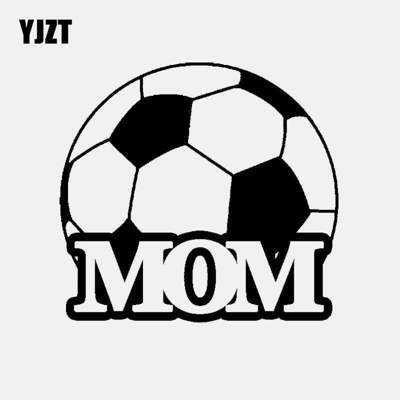 YJZT 14.2 CM * 13.2 CM كرة القدم أمي لاعب ملصق حائط من الفينيل سيارة ملصقا كرة القدم الرياضة أسود/الفضة C3-1749