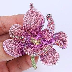 Image 2 - Tuliper брошь orchidea kobiety broszka kwiat Broche Femme przypinka do klapy wisiorek różowy kryształ Party biżuteria аксессуары Kpop moda