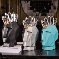 Geometric Abstract Character Crystal Punk Head Sculpture Home Artwork Decoration Statue Creative Ornaments Figurines Furnishings