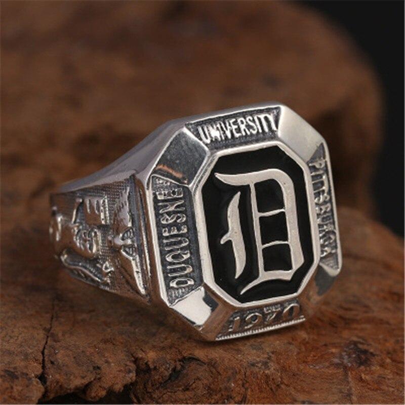Solide argent 925 bande épaisse anneaux hommes noir émail pierre gothique Lion aigle 100% réel 925 bijoux en argent Sterling large anneau hommes