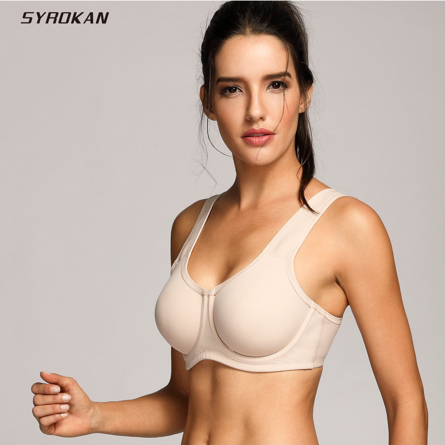 SYROKAN Women's Max Control Solid Plus Size High Impact Underwire Sports Bra leading lady women s plus size underwire padded t shirt bra white 38d