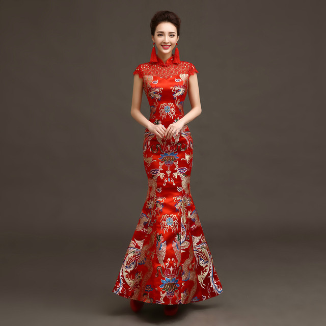 Long Cheongsam Chinese Bride Wedding Dress Costume Retro Elegant ...