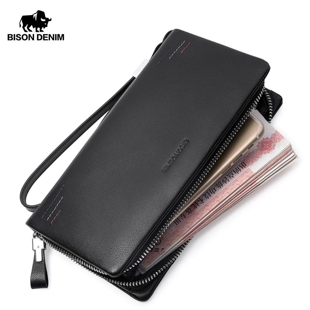 BISON DENIM Men Wallets Genuine Leather Long Purse For Men Zipper Large Capacity Brand Card Holder Cowhide Wallet For Men N8215