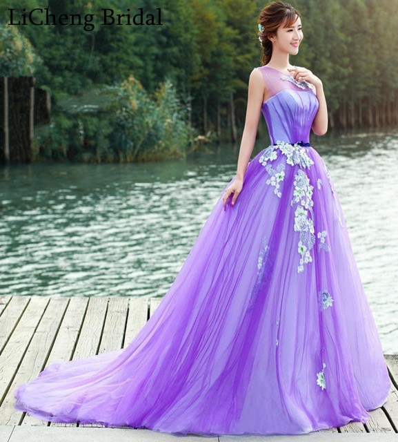 Romantic purple floral Appliques ball gown Wedding Dresses Elegant ...