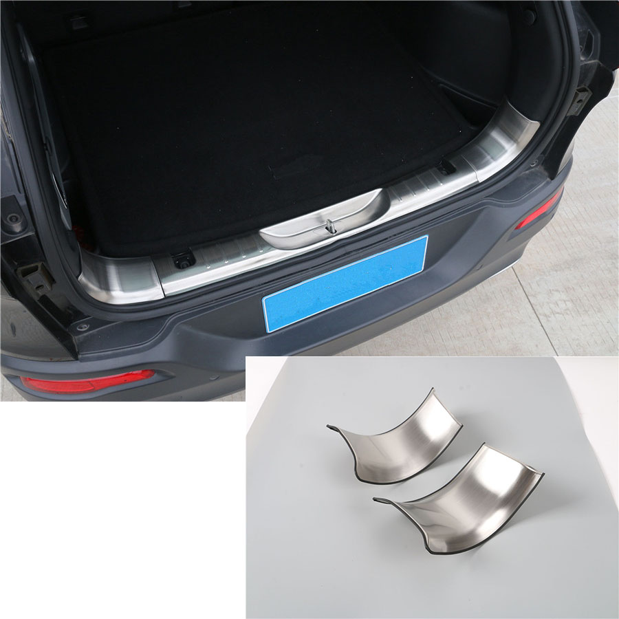 YAQUICKA For Jeep Cherokee 2014-2016 2Pcs Stainless Steel Car Rear Trunk Interior Guard Plate Wrap Angle Cover Stickers styling aosrrun after the stainless steel backboard of the guard board the rear guard plate car accessories for acura cdx 2016 2017