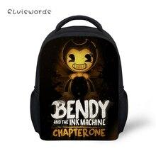 ELVISWORDS Kids Backpacks Bendy and the Ink Machine Pattern Small School Bags Boys Girls Mini Cute Student Bookbags Mochila
