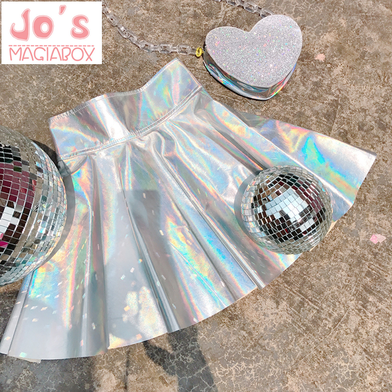 Holographic Pleated Skirts Women PU Solid Harajuku Casual  Laser Hight Waist Micro Mini Short JK Skirts Women Rainbow