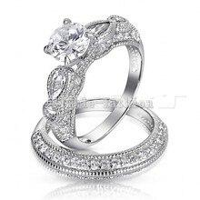 Vecalon 2016 Brand Antique Engagement wedding Band Set anillo para mujeres 2ct Cz diamond anillo de Plata de Ley 925 anillo de Dedo Hembra anillo