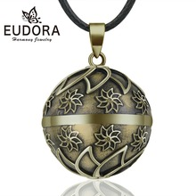 EUDORA 20mm Copper Flowers Ball Harmony Bola Pendant Necklace Chime Balls for Pregnancy Women Baby Vintage Jewelry N14NB342