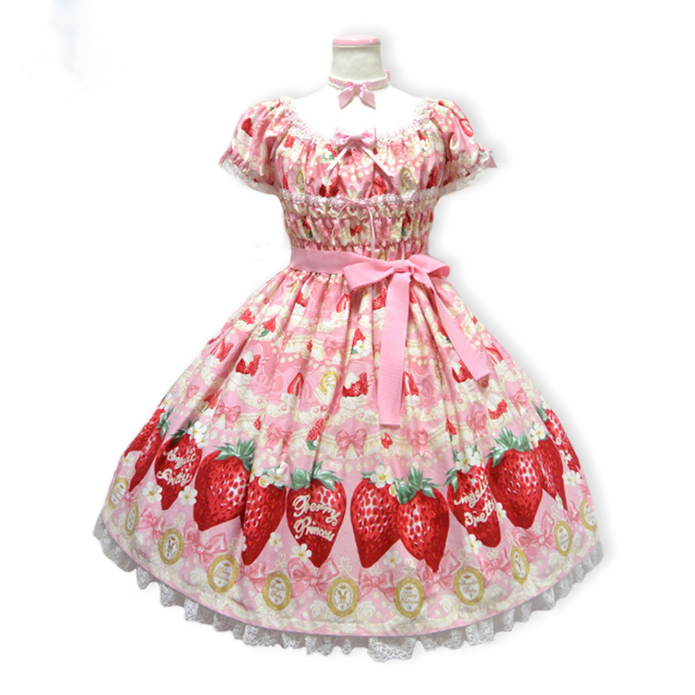 2018 New Women Spring Autumn Red Pink Yellow Sweet Cute Cream Strawberry Printing Lolita Dress Free Shipping