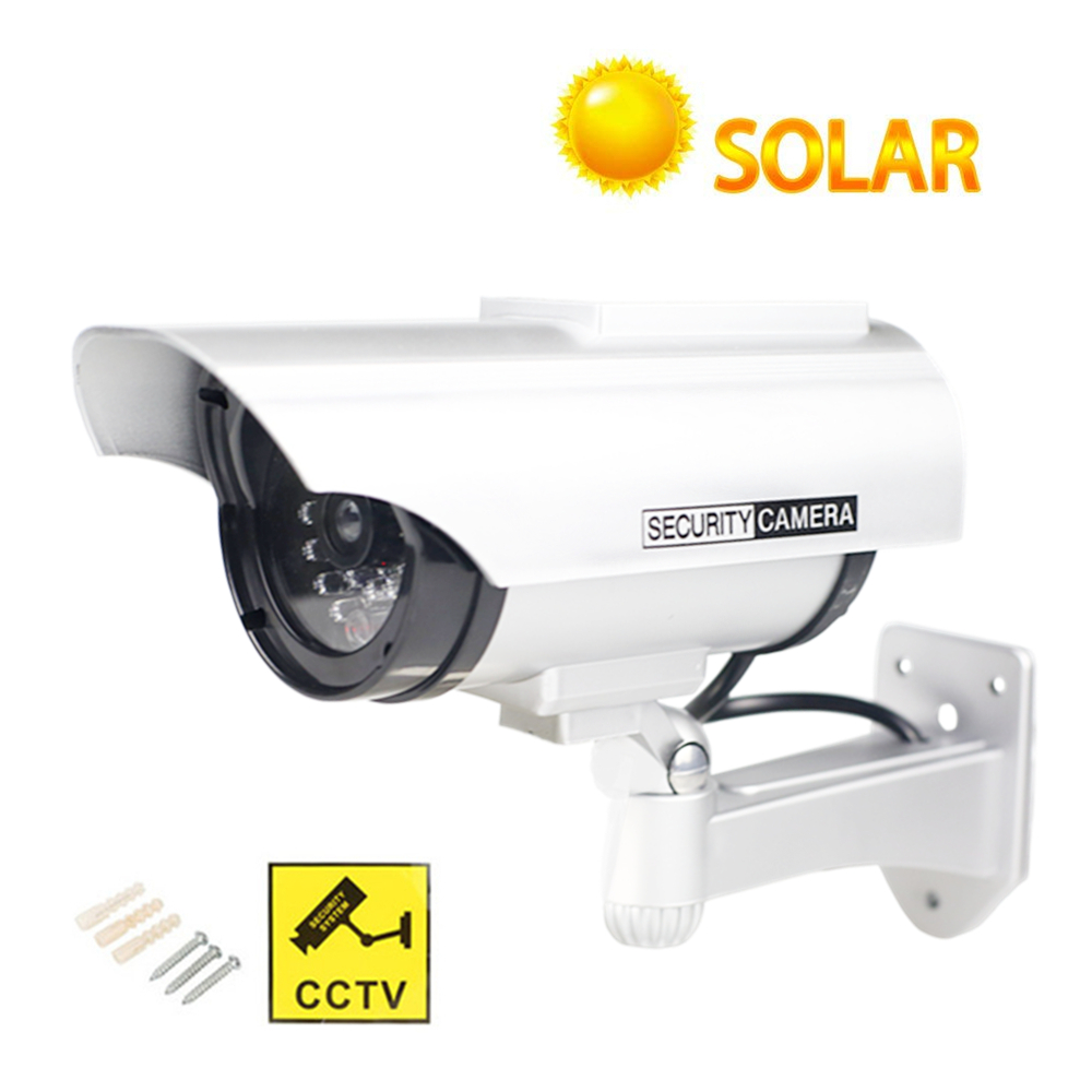 Solar Power Fake Dummy Camera Waterproof Outdoor Security CCTV Surveillance Bullet Camera Home LED Light Monitor Free Shipping