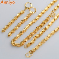 Anniyo TWO SIZE Ethiopian Necklace Earrings Bangle Gold Color Copper Jewelry Sets African Cuba Mexico Nigeria