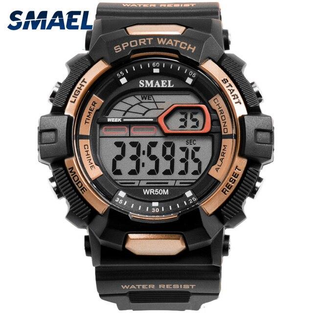 e39c420dffbc Deporte impermeable Relojes LED SMAEL Relojes para Hombre hombres reloj  militar Relojes ejército 1527 silicona Digital