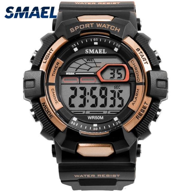 988ecfa6917 Esporte Relógios à prova d  água LED SMAEL Relojes Hombre Homens Assistir  Grandes Relógios Militar