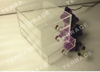 (Free Shipping) 3 Tier Acrylic Jewelry drawer case,lucite organizer chest box