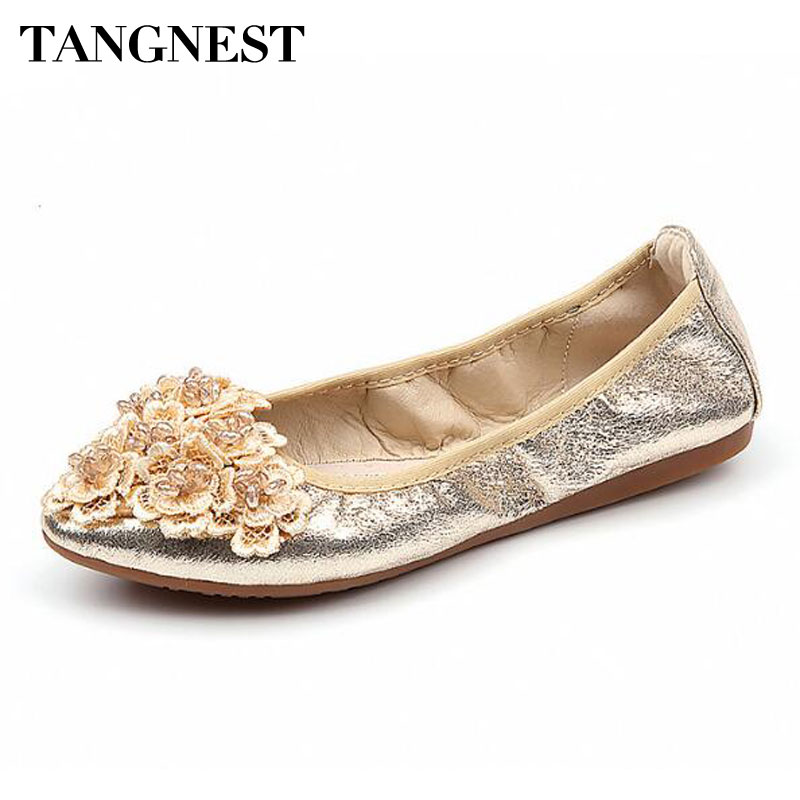 Tangnest 2018 New Woman Casual Shoes For Spring Solid Sequined Cloth Ballet Flats Slip-on Piont Toe Chic Flower Flats tangnest new embroider women flats casual flower printed ballet flats solid pu leather leisure shoes woman size 35 40 xwc1233