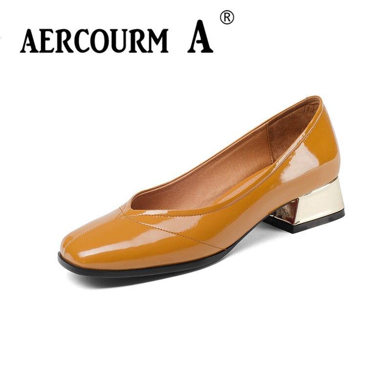 цена на Aercourm A Women Patent Pumps Shoes Female Shallow Genuine Leather Shoes 2018 Slip-on Square Low Heel Black Brown Dress Shoes