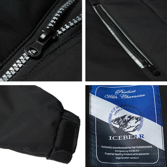 ICEbear 2017 New Autumn Spring Slim Jacket Men Cotton Padded Short Thin Coat Cotton Three Colors Plus Size