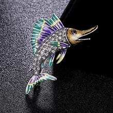 Donia jewelry antique silver vintage Shark Brooch Pins men #8217 s jewelry fine Women Kids Scarf Clothes Hat Accessories Jewelry cheap Fashion Brooches TRENDY Rhinestone Zinc Alloy Unisex Animal 2206100894 green blue brown 3 8CM*5 6CM
