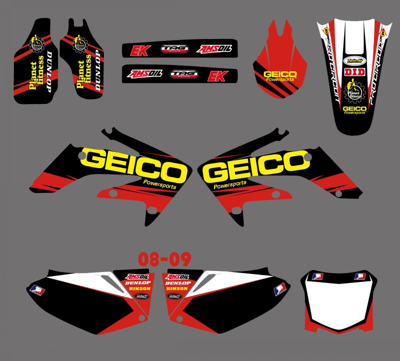 0158 Red White New Style TEAM GRAPHICS BACKGROUNDS DECALS STICKERS Kits for Honda CRF250 CRF250R 2008