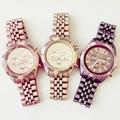 Nuevas Mujeres Reloj de Pulsera de Acero Inoxidable Pintado Elegante Mate Color de Ginebra Del Reloj de Oro Reloj de Lujo Del Reloj Del Cuarzo Relogio Feminino