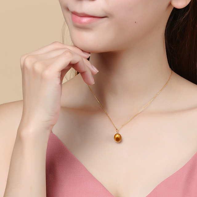 8.5-9mm Freshwater Pearl Brown Color Pendant 1