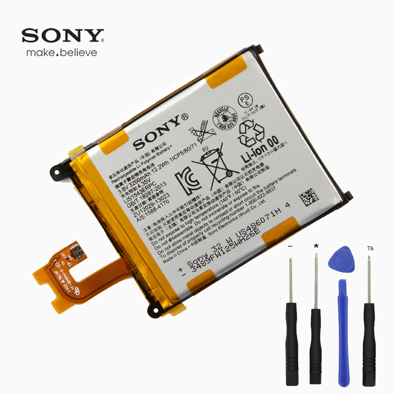 D'origine Sony Z2 Batterie Pour Sony Xperia Z2 L50 L50W L50U L50T D6502 D6503 LIS1543ERPC 3200 mah