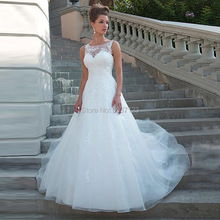 2021 White Tulle Wedding Dresses Scoop A Line Sleeveless Lace Appliques Buttons Back Bridal Gowns Court Train Custom Made