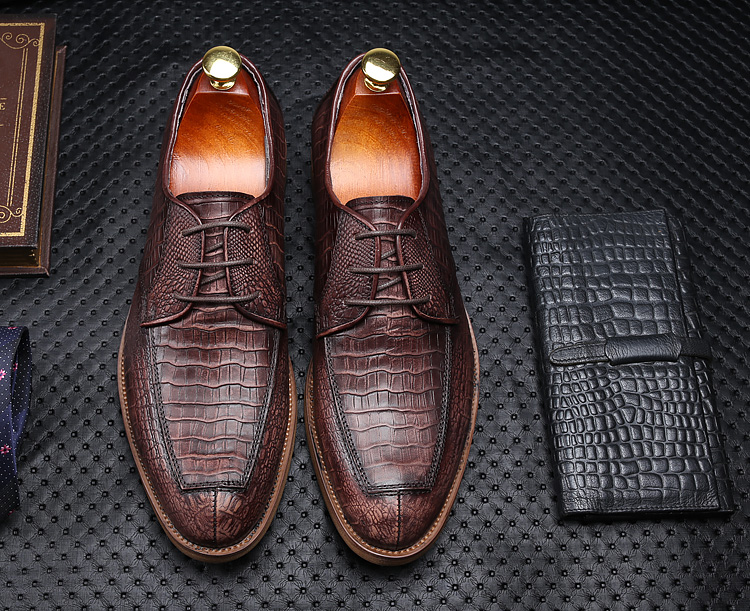Italian brand designer round toe real leather oxfords high quality formal business men's dress shoes Crocodile pattern Oxfords mycolen 2018 high quality business dress men shoes luxury designer crocodile pattern formal classic office wedding oxfords