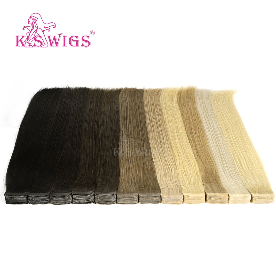 K.S WIGS Remy Human Hair Luxury Tape In Double Drawn Human Hair Extensions 20'' 50g