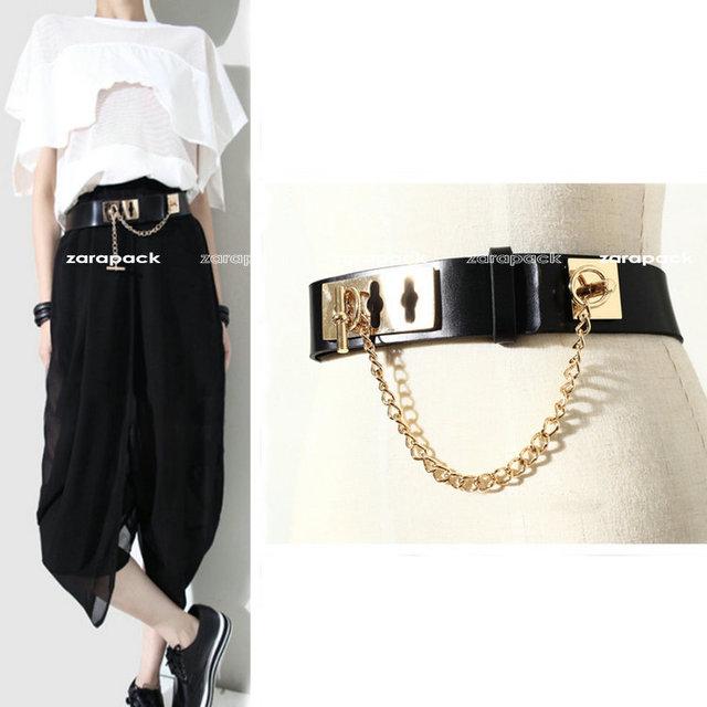 Diseñador Estilo Punky Del Cuero Genuino de Moda Cinturón con Hebilla en Tono Dorado XS S Para Las Mujeres Shipping